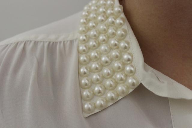DIY Stylish Pearl Stud Collar