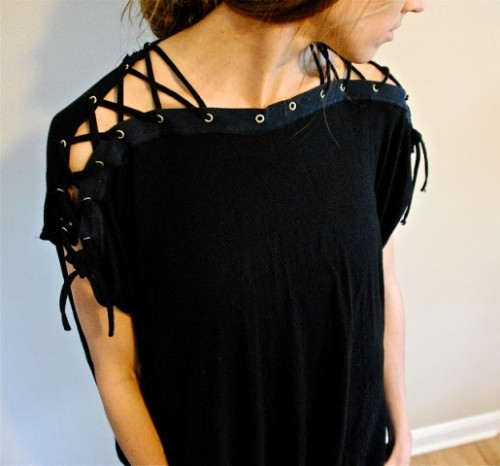 DIY T-Shirt With Laced Up Collar Sleeves