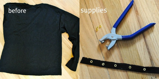 Picture Of DIY T Shirt With Laced Up Collar Sleeves 3