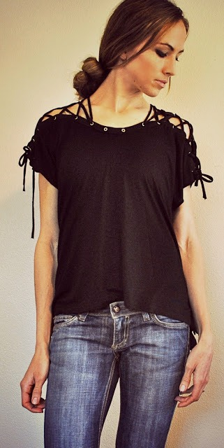 Picture Of DIY T Shirt With Laced Up Collar Sleeves 6
