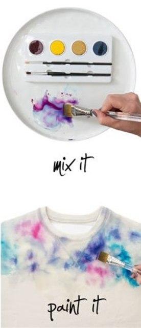 DIY Watercolor Sweatshirt In Gentle Shades