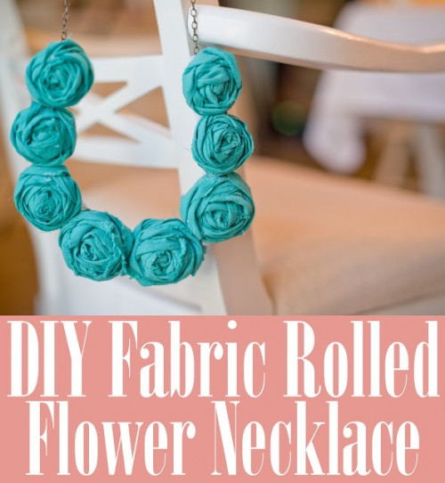 DIY Fabric Rolled Flower Necklace
