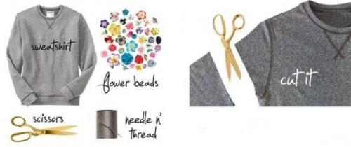 Delicate DIY Floral Tee Of A Usual Sweatshirt