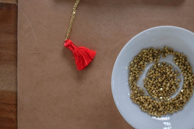 Picture Of Easy To Make DIY Beaded Tassel Necklace 4