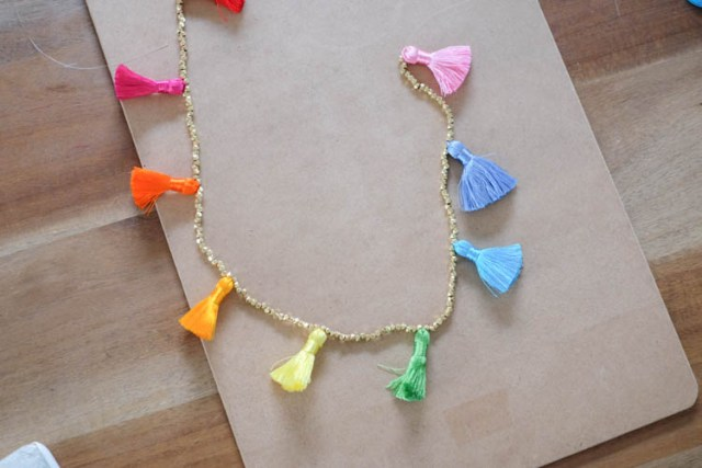 Picture Of Easy To Make DIY Beaded Tassel Necklace 5