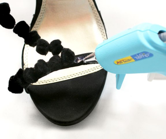 Picture Of Easy To Make DIY Beautiful Strappy Heels With Pom Poms 4