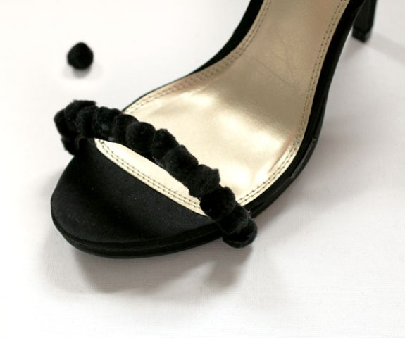 Picture Of Easy To Make DIY Beautiful Strappy Heels With Pom Poms 5