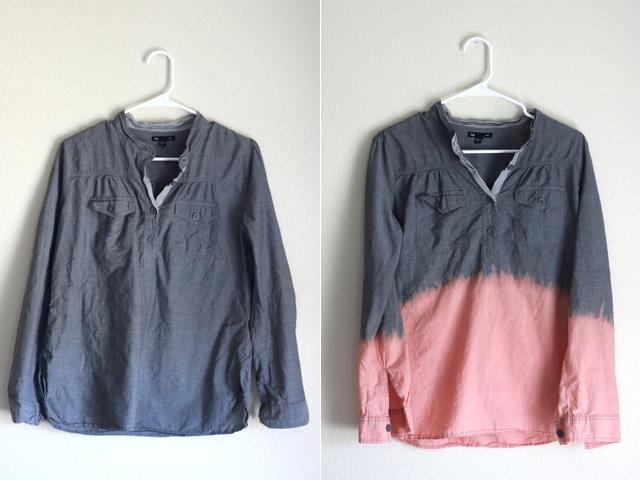 Picture Of Easy To Make DIY Bleach Dipped Chambray Shirt 3