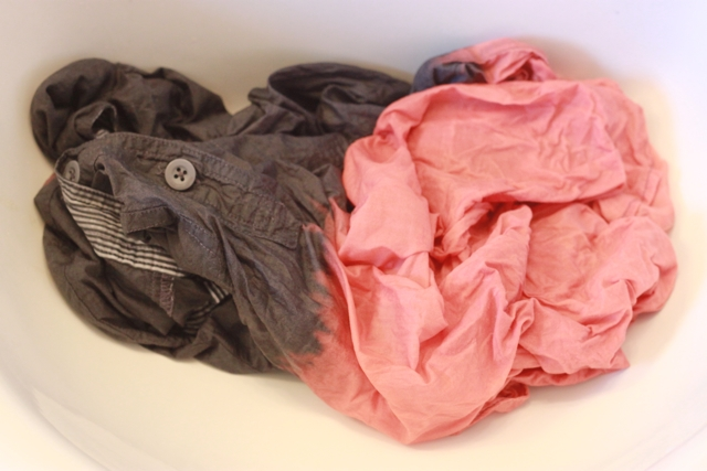 Picture Of Easy To Make DIY Bleach Dipped Chambray Shirt 6