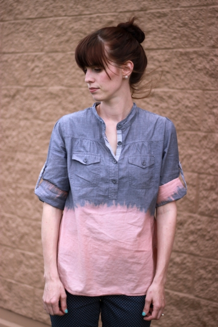 Easy-To-Make DIY Bleach Dipped Chambray Shirt