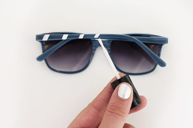 Picture Of Easy To Make DIY Striped 4th Of July Sunglasses 3