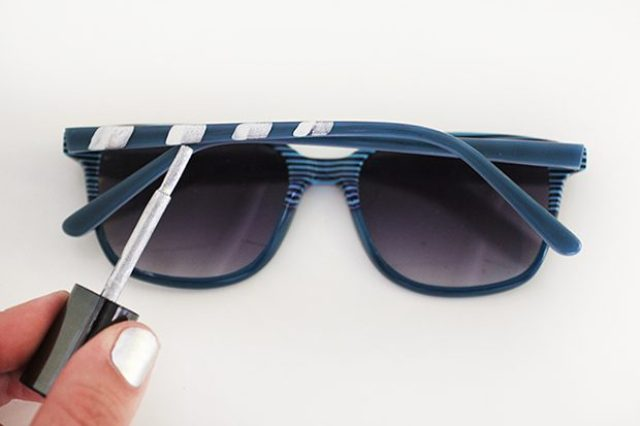 Picture Of Easy To Make DIY Striped 4th Of July Sunglasses 4