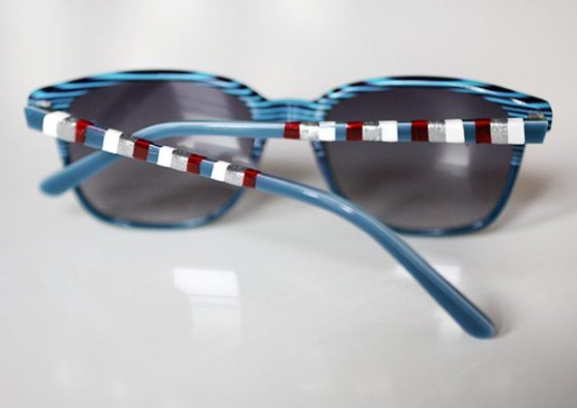 Picture Of Easy To Make DIY Striped 4th Of July Sunglasses 6