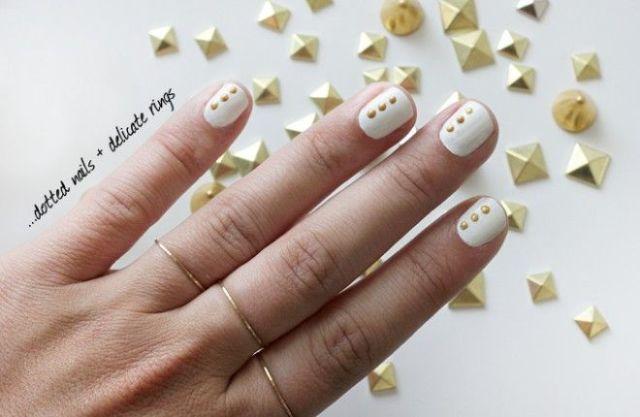 Elegant DIY Dots Nail Art With Delicate Rings