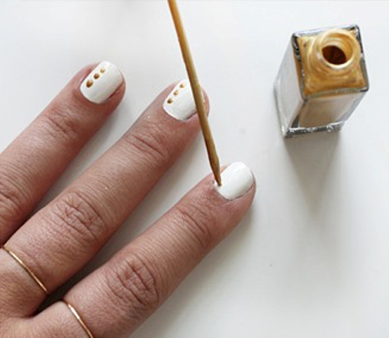Picture Of Elegant DIY Dots Nail Art With Delicate Rings 3