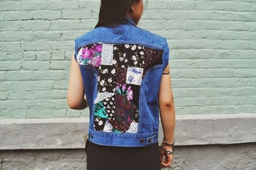 Eye-Catching DIY Floral Patchwork Denim Vest