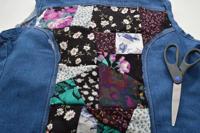 Picture Of Eye Catching DIY Floral Patchwork Denim Vest 12