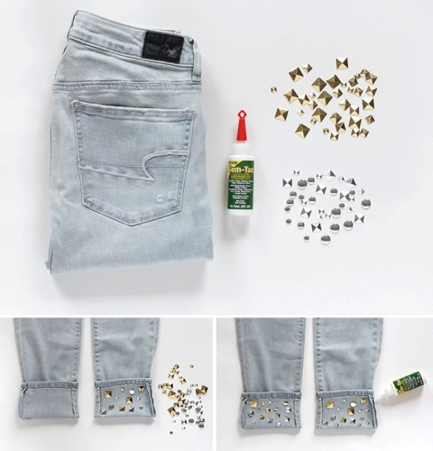 Fashion DIY Studded Cuffs For Your Jeans