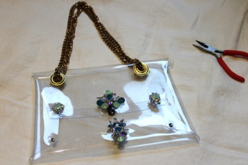 Fashionable DIY Chain Strap Swarovski Embellished Clutch