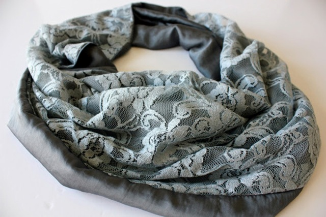 Picture Of Feminine DIY Infinity Lace Scarf 6
