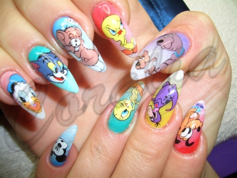 fancy These days nail artists are using gel extensions to create everything  from longer nails and glass nails to legit cartoon figurines you started  and ... - Cartoon Nail Designs – Slybury.com
