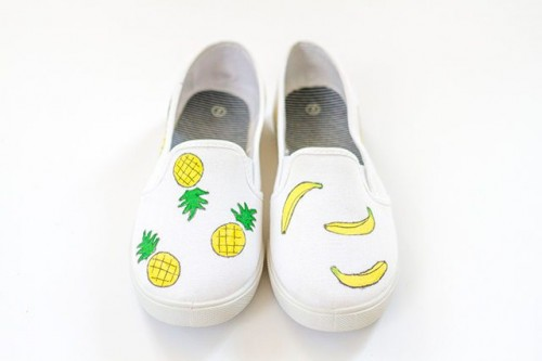 Funny DIY Fruit Printed Canvas Shoes