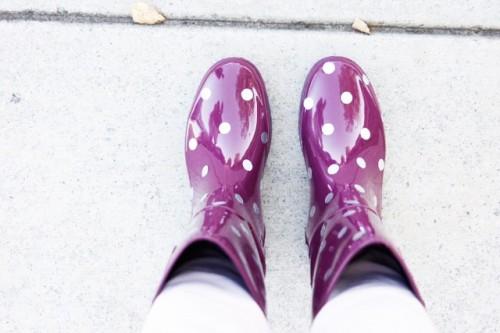 Funny DIY Polka Dot Wellies For Rainy Days