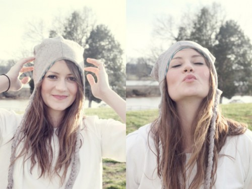 Funny DIY Snowy Day Hat From An Old Sweater
