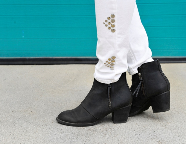 Picture Of Gentle And Rock'N'Roll DIY Triangle Studded Jeans 2
