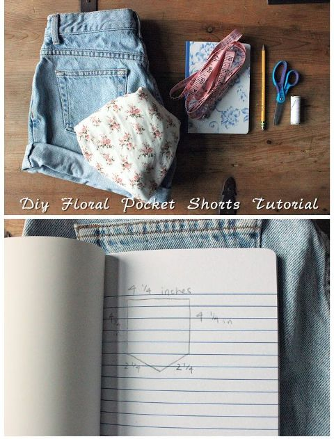 DIY Shorts Remodel With Floral Pockets