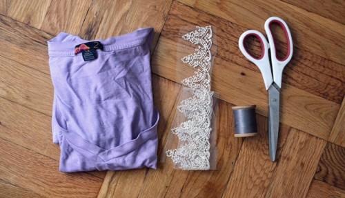 Gentle DIY Lace Insert T Shirt