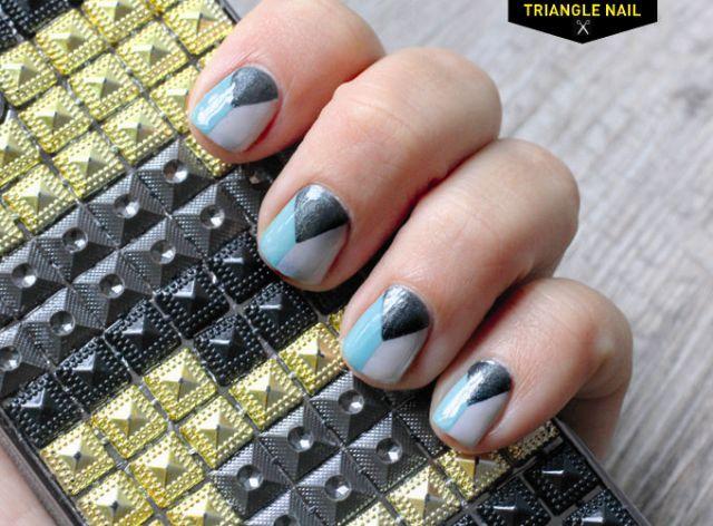 Geometric DIY Divided Triangle Nail Art