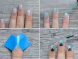 Geometric DIY Divided Triangle Nail Art2