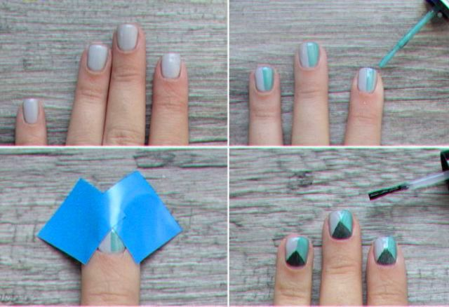 Picture Of Geometric DIY Divided Triangle Nail Art 2