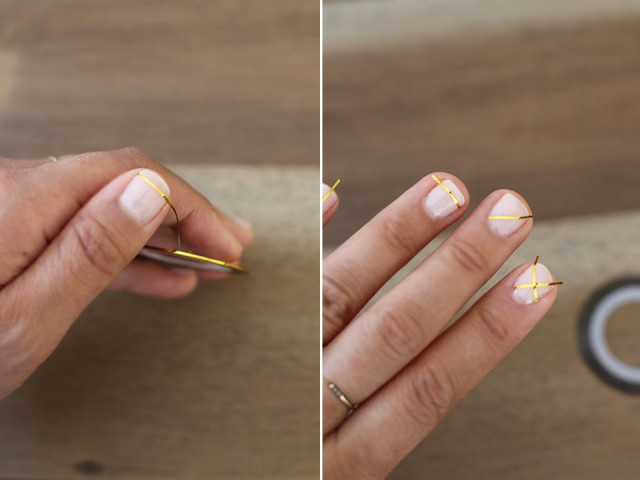 Picture Of Geometric DIY Gold Striped Nails 4
