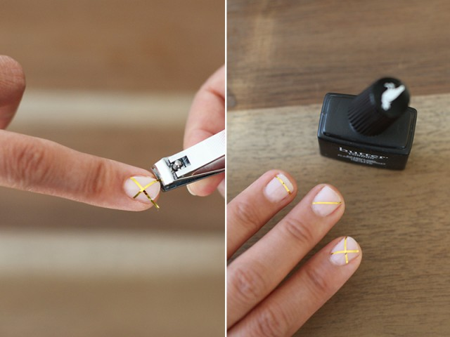 Picture Of Geometric DIY Gold Striped Nails 5