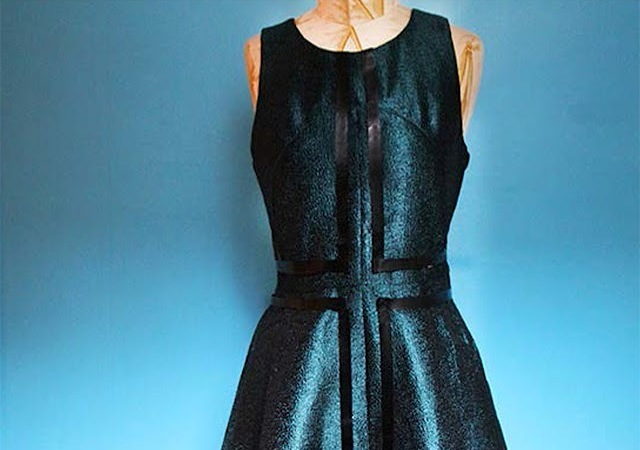 Picture Of Geometric DIY Leather Striped Dress 5