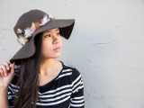 Gorgeous DIY Feather Trimmed Floppy Hat10