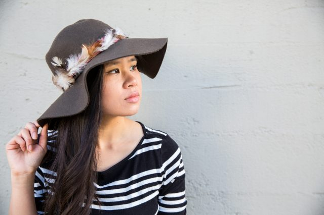 Picture Of Gorgeous DIY Feather Trimmed Floppy Hat 10