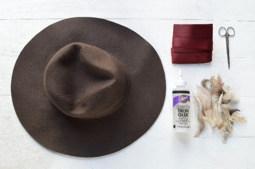 Gorgeous DIY Feather Trimmed Floppy Hat