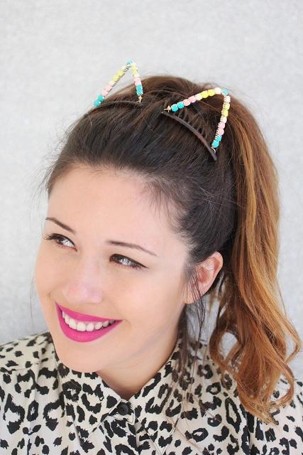 Lovely DIY Embellished Cat Ears For Halloween