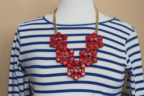 DIY Nautical Statement Red Necklace