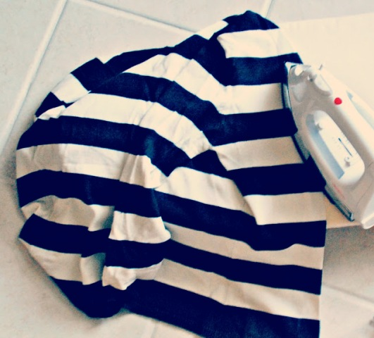 Picture Of Original And Fabulous DIY Cutout Striped Shirt 3