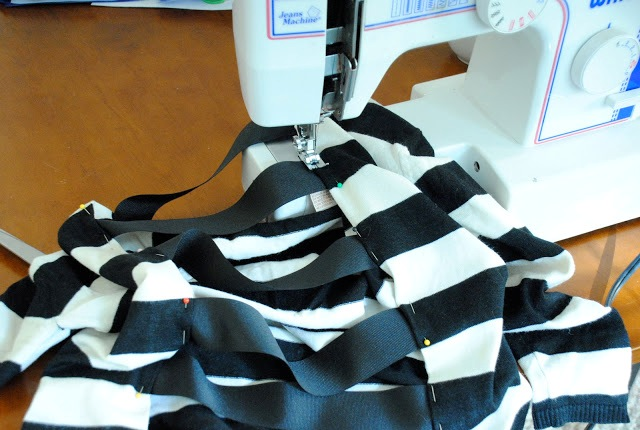 Picture Of Original And Fabulous DIY Cutout Striped Shirt 5