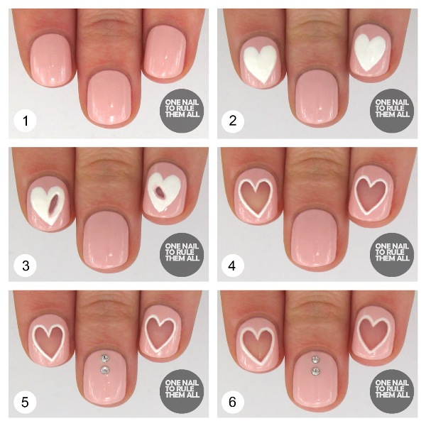 Picture Of Original DIY Heart Nail Art For A Valentine's Day 2