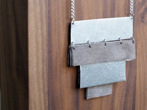 Original DIY Leather And Metal Pyramid Necklace