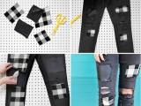 Original DIY Patchwork Denim Jeans4