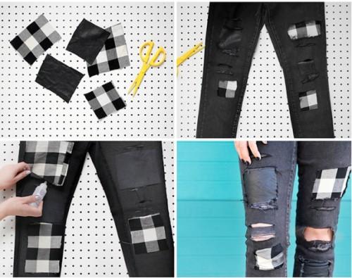 Original DIY Patchwork Denim Jeans