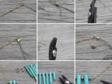 Original DIY Turquoise Spike Necklace2