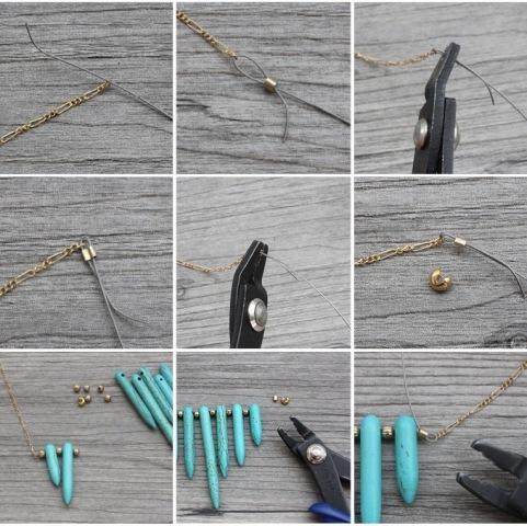 Original DIY Turquoise Spike Necklace